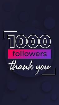 1000 obserwujących, dziękuję, pionowy projekt banera