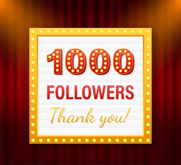 1000 obserwujących, dziękuję, post w serwisach społecznościowych. dziękuję obserwującym kartę gratulacyjną. czas ilustracja wektorowa.