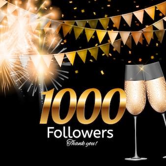 1000 obserwujących. dziękuję tło