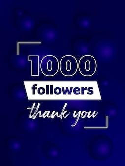 1000 obserwujących, niebieski baner dla sieci społecznościowych