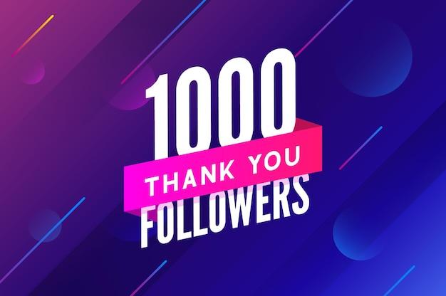 1000 obserwujących wektor powitanie karta społeczna dziękuję obserwującym