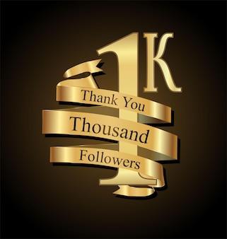 1000 obserwujących z podziękowaniem ze złotą wstążką