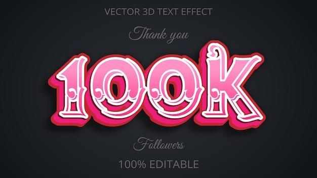 100k 3d efekt tekstowy różowy kolor
