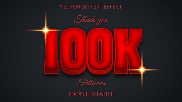 100k 3d kreatywny efekt tekstu czerwony kolor