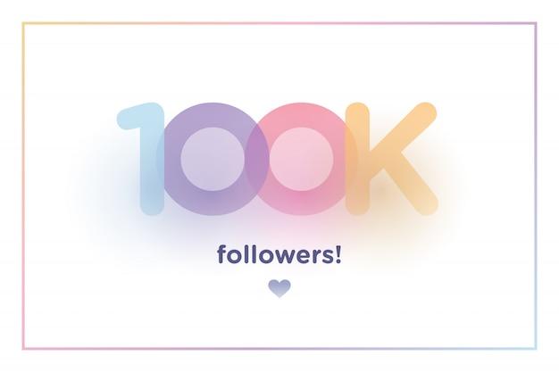 100k lub 100000, naśladowcy dziękują kolorowym numerom tła z delikatnym cieniem