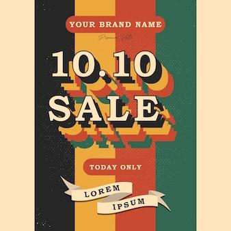 1010 dzień zakupów czcionki vintage retro i grunge tekstury ilustracji wektorowych