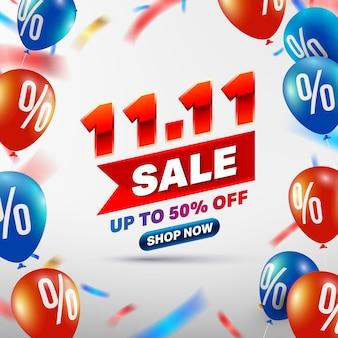 11.11-dniowy projekt plakatu lub ulotki sprzedaż. koncepcja transparent sprzedaż w dzień singles