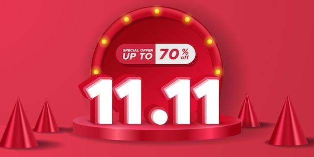 11.11 dzień singli dzień zakupów rabat promocyjny plakat baner reklamowy końcowa duża mega wyprzedaż z wyświetlaczem na podium cylindra