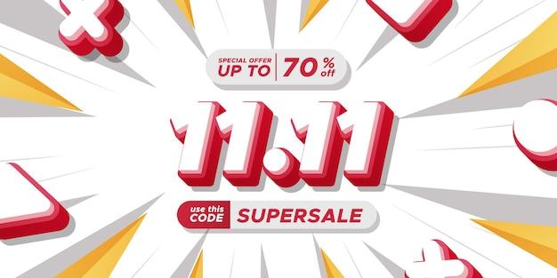 11.11 dzień singli dzień zakupów rabat promocyjny plakat baner reklamowy ostateczna duża mega wyprzedaż z tekstem 3d
