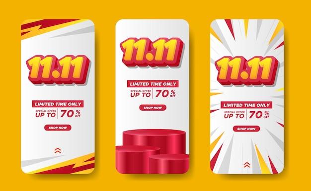 11.11 dzień singli dzień zakupów zniżki historie promocyjne media społecznościowe banery reklamowe ostateczna duża mega wyprzedaż z tekstem 3d