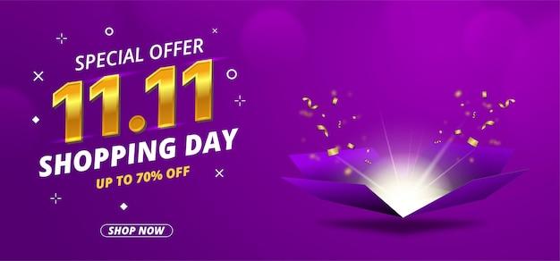 11 11 dzień sprzedaży baner z otwartym pudełkiem