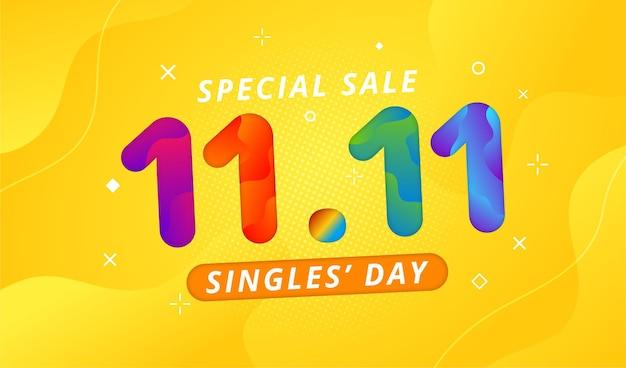 11 11 dzień sprzedaży baner z żółtym tłem i kolorowym wzorem