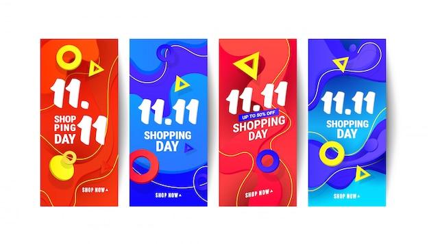 11.11 dzień zakupów historie społecznościowe sprzedaż transparent tło z wielokątnymi gradientowymi kształtami i prezentami na szarym tle.