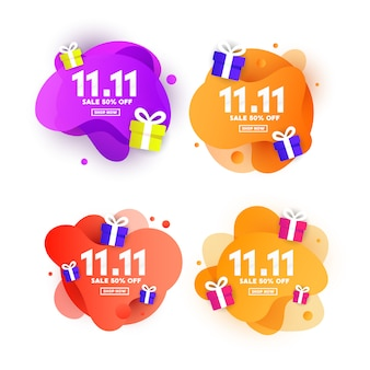 11.11 ustaw baner z okazji dnia zakupów z plastikową płynną falą gradientu i trójkątnymi kształtami gradientu
