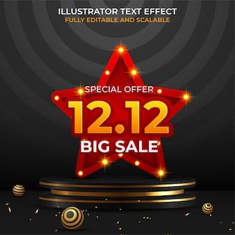 12.12 baner sprzedaży festiwalowej zakupów ze złotym konfetti