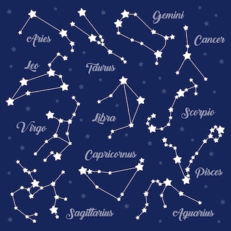 12 konstelacji znaków zodiaku ustawionych na ciemność