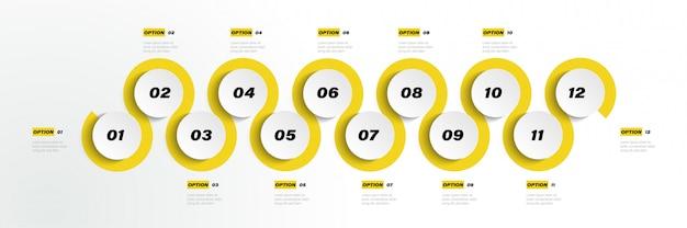12-krokowy okrąg w kolorze papieru origami w szablonie informacji graficznej dla schematu prezentacji diagramu i koncepcji biznesowej z 5 lub 6 elementami