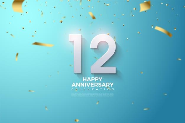 12 rocznica z ilustracją 3d liczb latających ze złotymi papierami.