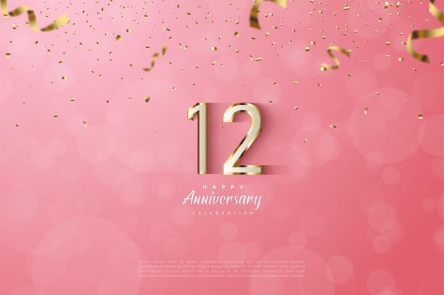 12 rocznica z luksusowymi złotymi numerami 3d.