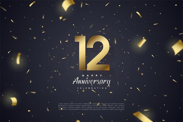 12 rocznica z numerami i złotą folią rozłożoną na czarnym tle.