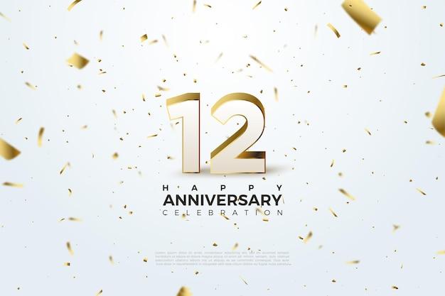 12 rocznica z rozrzuconymi cyframi i ilustracjami ze złotej folii.