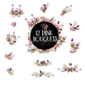 12 różowe bukiety