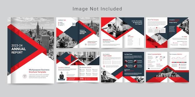 12-stronicowy projekt broszury korporacyjnej lub szablon profilu firmy.