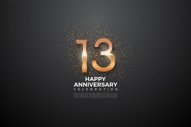 13. rocznica z błyszczącą cyfrą w środku.