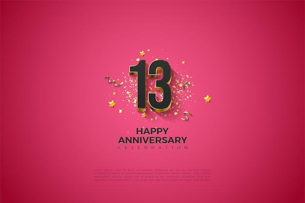 13. rocznica z grubymi pozłacanymi cyframi.
