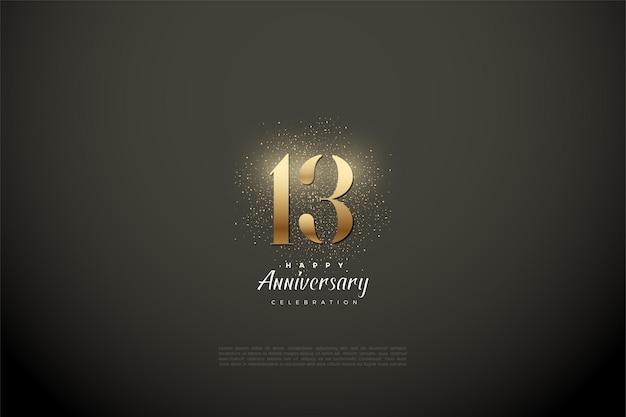 13. rocznica z ilustracją przedstawiającą złote cyfry i brokat.