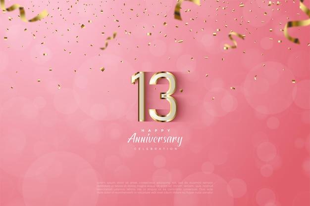 13. rocznica z luksusowymi złotymi cyframi i literami.