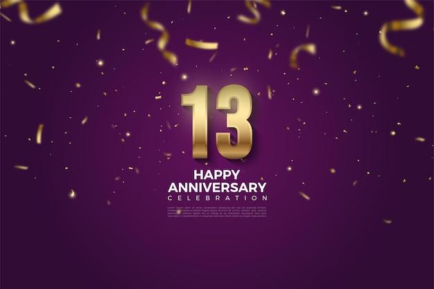 13. rocznica z upadłym złotym numerem i ilustracją wstążki.