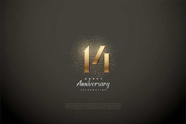 14. rocznica z błyszczącymi złotymi cyframi i iskrami.