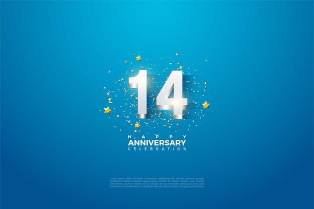 14 rocznica z cyframi i srebrną podszewką.