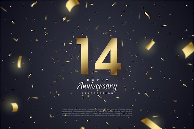 14 rocznica z cyframi i złotą folią.