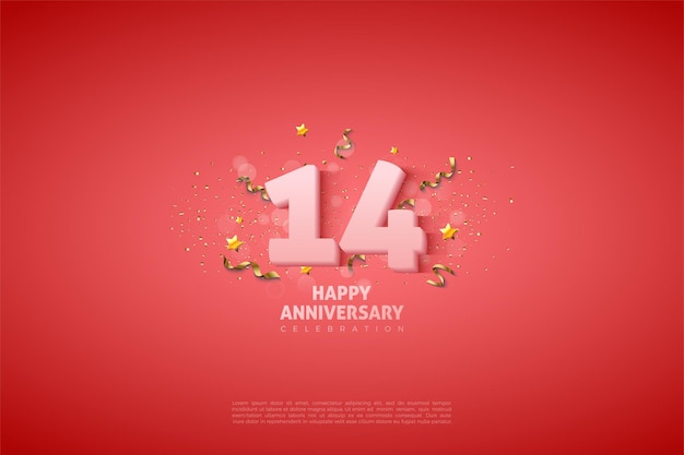 14. rocznica z miękkimi białymi cyframi.