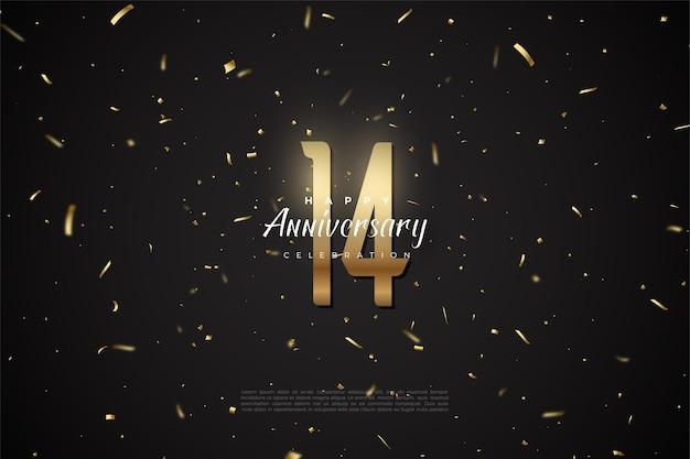 14. rocznica ze złotymi cyframi i kropkami.