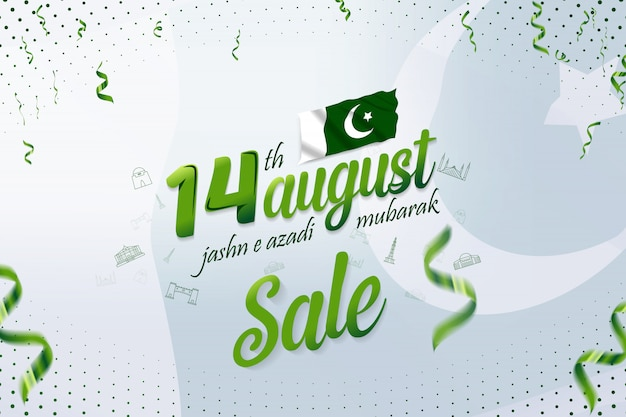 14 sierpnia jashn-e-azadi mubarak pakistan dzień niepodległości banner sprzedaży
