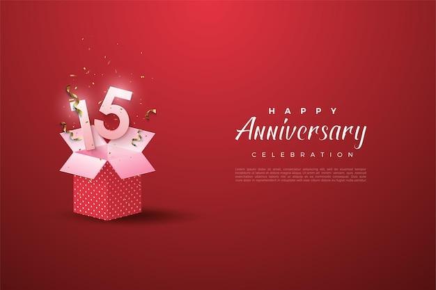 15 rocznica tło z ilustrowanymi liczbami wyłaniającymi się z pudełka.