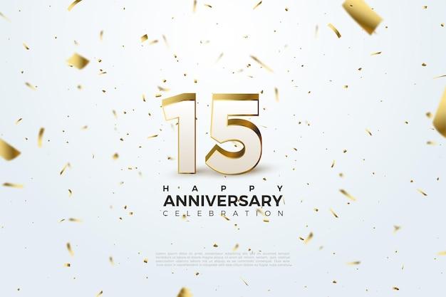 15 rocznica tło z latającymi małymi ilustracjami złotego papieru.