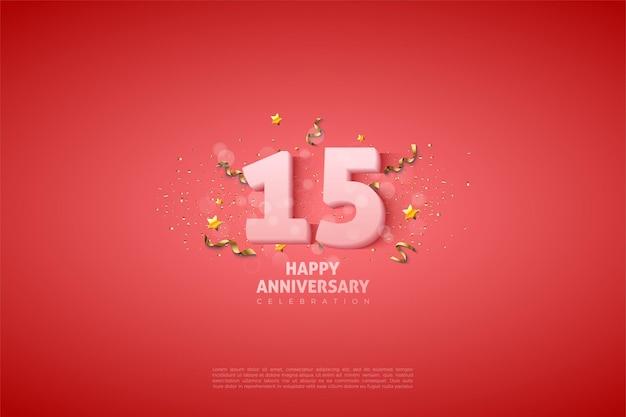 15 rocznica tło z miękkimi mlecznobiałymi cyframi.