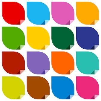 16 kolorowych pustych naklejek