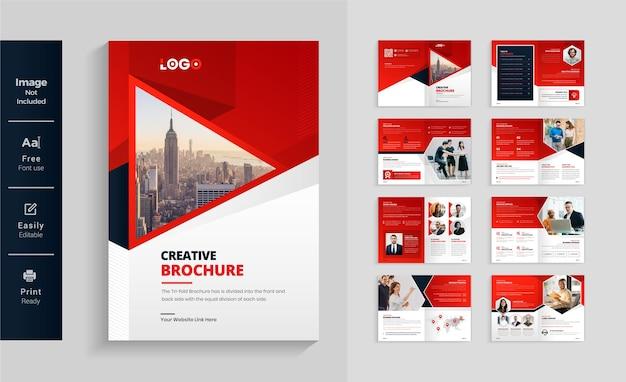 16 stron czerwono-czarna nowoczesna broszura biznesowa czysty i minimalistyczny szablon projektu