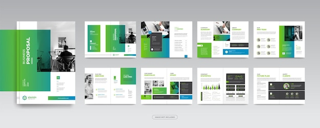 16 stron korporacyjna broszura biznesowa szablon projektu rocznego raportu lub profilu firmy dla marketingu
