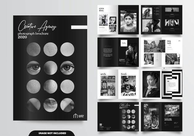16 stron minimalistycznego czarnego projektu broszury