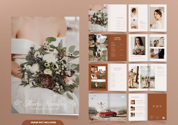 16 stron minimalistycznego projektu broszury z fotografii ślubnej