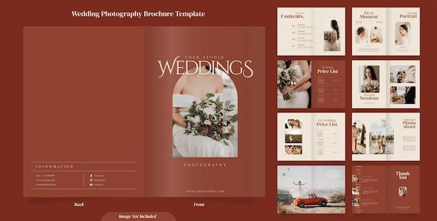 16 stron minimalistycznej broszury poświęconej fotografii ślubnej