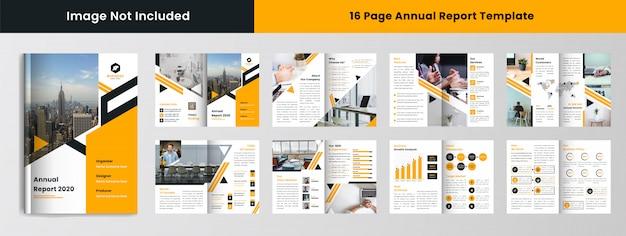 16-stronicowy szablon raportu rocznego w żółtym kolorze