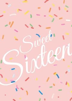 16 urodziny szablon karty z pozdrowieniami wektor z konfetti w tle