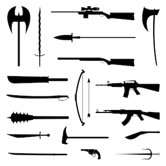 18 ikon sylwetki broni. średniowieczny i nowoczesny zestaw